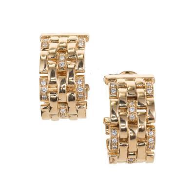 Cartier Cartier Maillon Panthere 50 Carat Diamond Five Row Gold Hoop Earrings