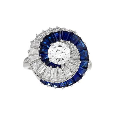 Cartier Cartier Mid 20th Century Diamond and Sapphire Swirl Ring