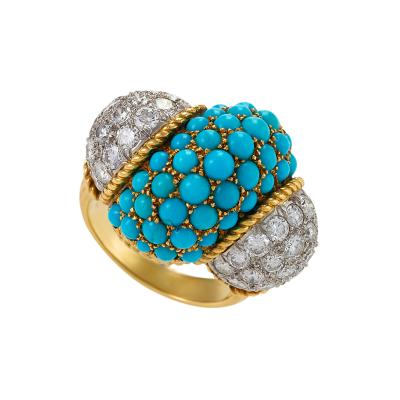 Cartier Cartier Mid 20th Century Turquoise Diamond and Gold Cocktail Dinner Ring