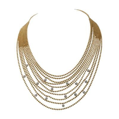 Cartier Cartier Multi Strands of Gold Beeds Daimond Necklace