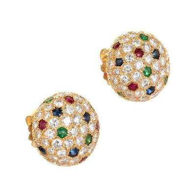 Cartier Cartier Panthere 8 3 Carat Dome Diamond Sapphire Emerald Ruby Gold Earrings