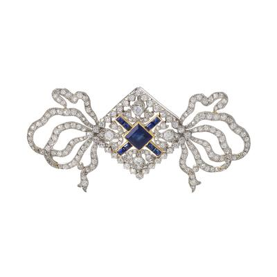 Cartier Cartier Paris Belle Epoque Diamond Blue Sapphire Gold Platinum Ribbon Brooch