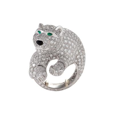 Cartier Cartier Paris Late 20th C Diamond Onyx Emerald and Platinum Panth re Ring