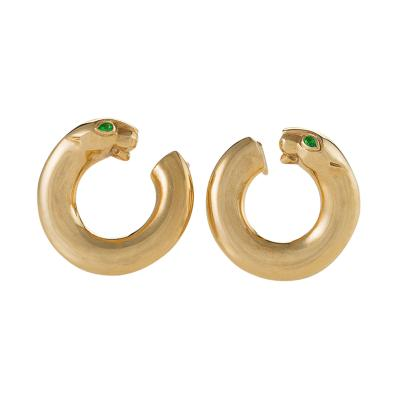 Cartier Cartier Paris Late 20th Century Emerald and Gold Panther Hoop Earrings
