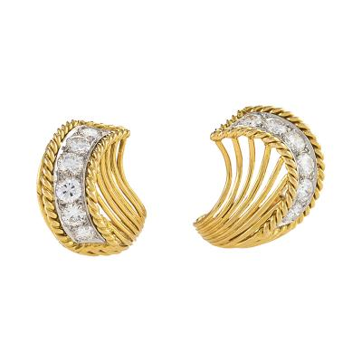 Cartier Cartier Paris Mid 20th Century Diamond Gold and Platinum Earrings