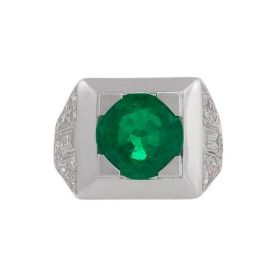 Cartier Cartier Paris Mid 20th Century Emerald Diamond and Platinum Ring