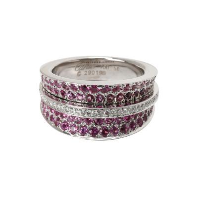 Cartier Cartier Paris Pink Sapphire Diamond Ring in 18K White Gold 1 40 CTW
