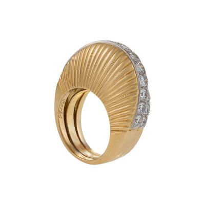Cartier Cartier Paris Retro Step Diamond and Gold Ring