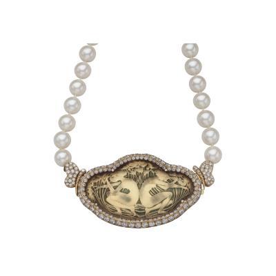 Cartier Cartier Pearl Diamond Necklace with Lalique Art Nouveau Cyrstal