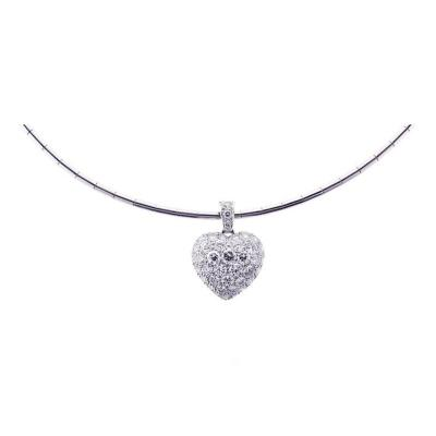 Cartier Cartier Puffed Diamond Gold Heart Choker Necklace