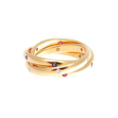 Cartier Cartier Ruby Sapphire Diamond Gold Trinity Ring