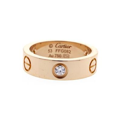 Cartier Cartier Three Diamond Pink Gold Love Ring