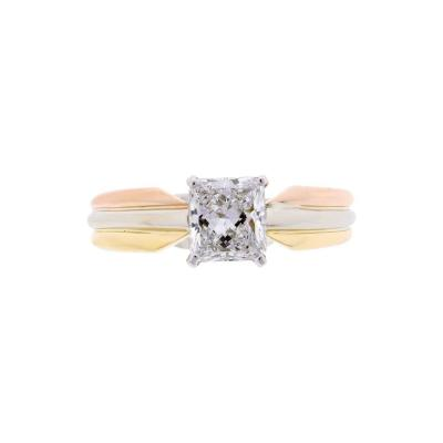 Cartier Cartier Trinity Radiant Diamond Gold Platinum Engagement Ring