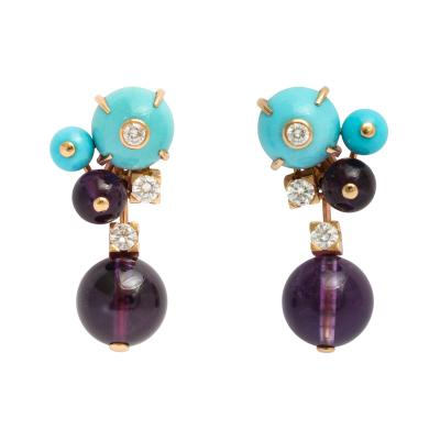Cartier Cartier Turquoise Amethyst Bead Earrings
