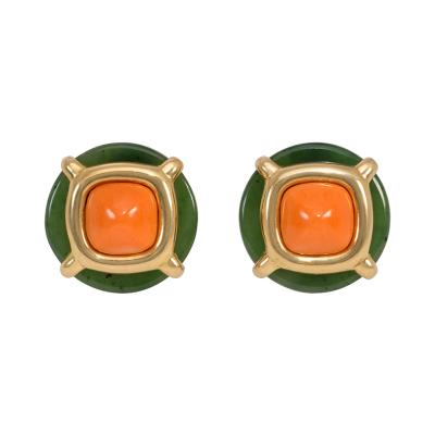 Cartier Cipullo for Cartier Gold Nephrite Jade and Coral Button Clip Earrings