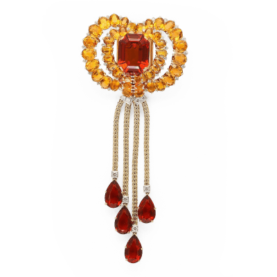 Cartier Citrine Necklace Brooch by Cartier