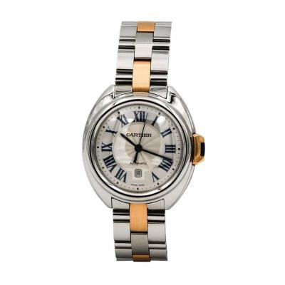 Cartier Cle De Cartier Ladies Yellow Gold Stainless Steel Date Automatic Wristwatch