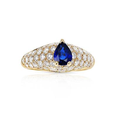 Cartier FRENCH CARTIER PEAR SHAPE BLUE SAPPHIRE RING WITH DIAMONDS 18 KARAT YELLOW GOLD