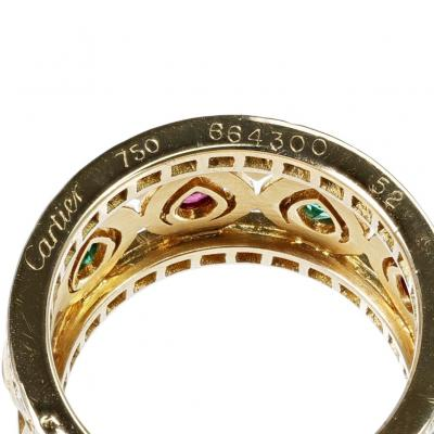 Cartier FRENCH CARTIER RUBY AND EMERALD WITH DOUBLE DIAMOND BORDER BAND