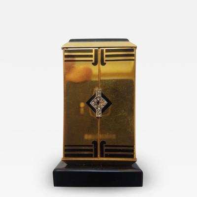 Cartier GOLD ART DECO ALTAR OR TRYPTIQUE TABLE CLOCK CARTIER 1930