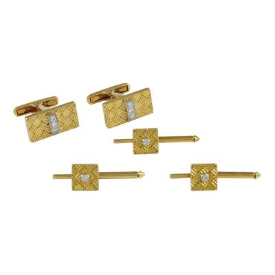 Cartier Gold Cartier Cufflink Stud Set with Diamonds