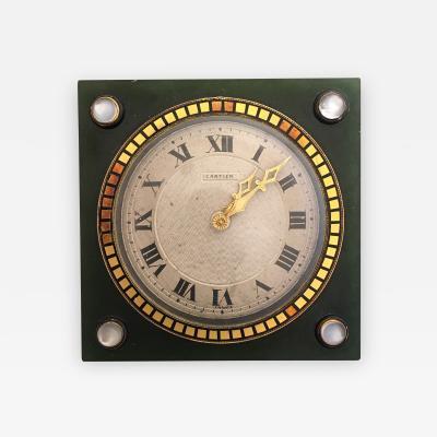 Cartier Moonstone Nephrite Enamel and Gold Cartier Clock