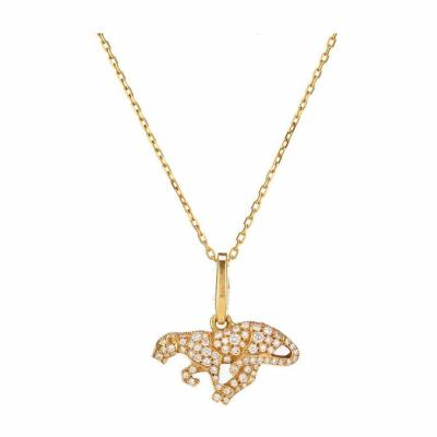 Cartier PANTHERE 18K YELLOW GOLD DIAMOND PANTHER ON A CARTIER SIGNTURE CHAIN PENDANT