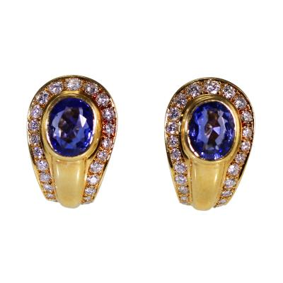 Cartier Pair of 18 Karat Gold Sapphire and Diamond Earclips by Cartier France