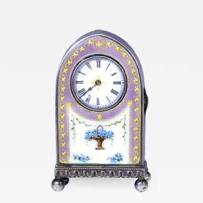 Cartier Rare 1900 1910 Cartier Enamel Forget Me Knot Motif Dome Clock