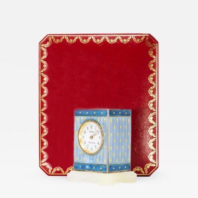 Cartier Rare 1910 Cartier Fleur de Lis Star Motif Enamel Mignonette clock