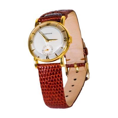 Cartier Rare 1940 50s 18k Cartier EWC 2tone Enamel Satin Silver Sector Dial Wristwatch