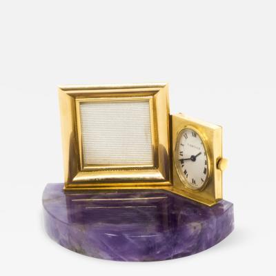 Cartier Rare Cartier 1960s Amethyst 18kt Yellow Gold Picture Frame Boudoir Clock