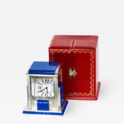 Cartier Rare Vintage Cartier Mystery Prism Lapis Clock w Coin Edge Case Original Box