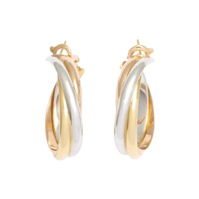 Cartier Tri colored 18K Gold Earrings by Cartier circa 1990s