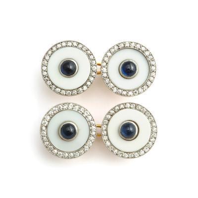 Cartier Vintage Cartier Agate Diamond and Sapphire Cufflinks