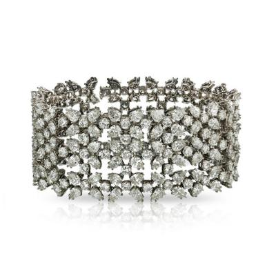 Carvin French CARVIN FRENCH PLATINUM PEAR SHAPED AND ROUNDS WIDE DIAMOND BRACELET