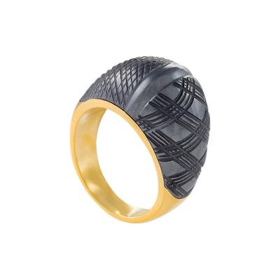 Carvin French Carvin French Hematite and Gold Bomb Ring