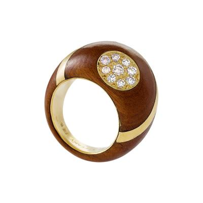 Carvin French Carvin French for Tiffany Co Estate Diamond Gold and Wood Bomb Ring
