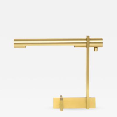 Casella Lighting Casella Brushed Brass Desk Lamp Cantilevered Signed USA 1970s