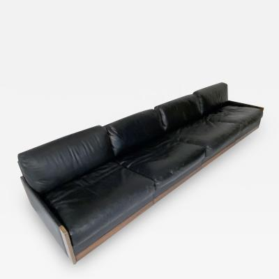 Cassina Afra Tobia Scarpa Black Leather 4 Seat Sofa for Cassina Model 920 1970s