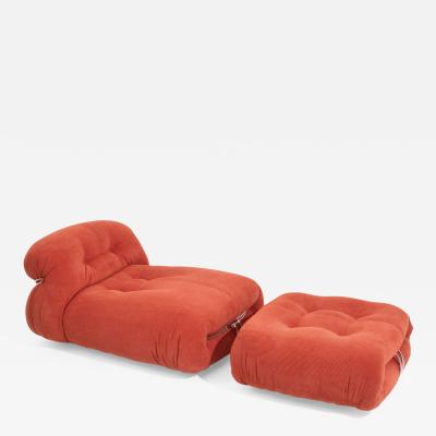Cassina Afra Tobia Scarpa Soriana Chaise Lounge Chair with Ottoman in red corduroy