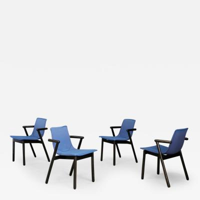 Cassina Cassina chairs blue set of four in black lacquered wood Post Modern 1980s