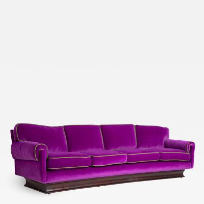 Cassina Italian Sof by Cassina in purple Velvet and green 1950s
