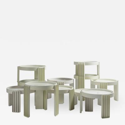 Cassina Set of 11 Marema Stacking Tables by Gianfranco Frattini for Cassina