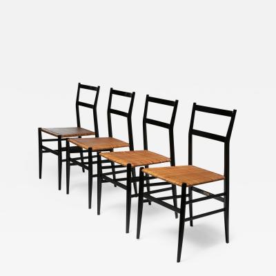 Cassina Set of 4 Superleggera Chairs by Gio Ponti for Cassina