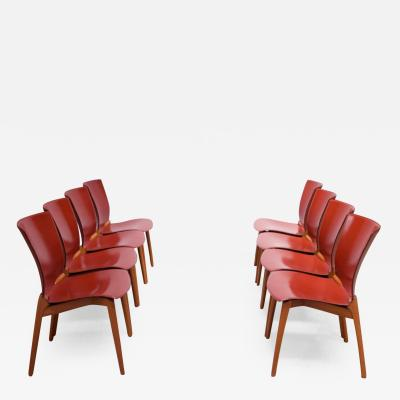 Cassina Set of Eight Josep Llusca Cos Chairs for Cassina in Red Leather and Beechwood