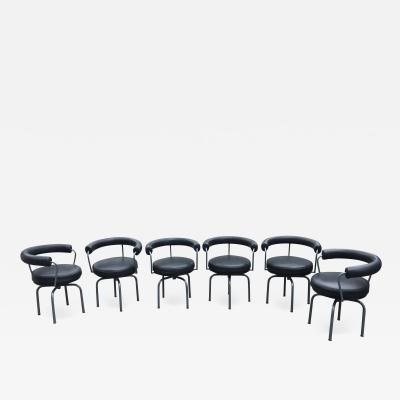 Cassina Set of Six Cassina Swivel Arm Chairs LC7 by Le Corbusier Perriand Jeanneret