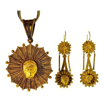 Castellani Antique Castillani Pendant Brooch with Matching Earrings