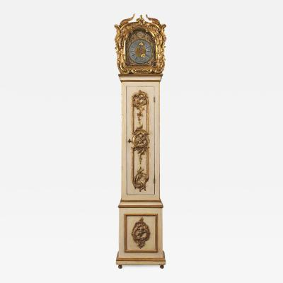 Castle Antiques Design Grand 1803 Continental Rococo Painted Gilt Tall Case Clock