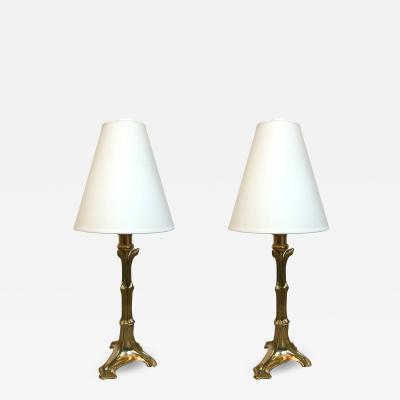 Cattadori Pair of Brass Neo Classical Lamps by Cattadori Italy 1970s